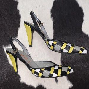 Miu Miu woven color blocking sling back heels 37.5